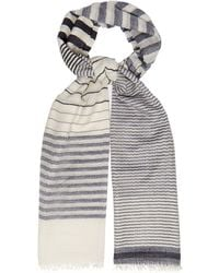 Begg & Co Staffa Yacht Striped Cashmere And Silk Scarf - Blue