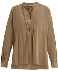 Vince - Long-sleeved Sandwashed Silk-crepe Blouse - Lyst