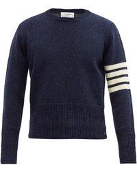 Thom Browne 4bar インターシャウールセーター - ブルー