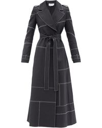 Gabriela Hearst Hamilton Double-breasted Topstitched Linen Coat - Black