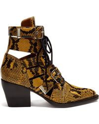 Chloé Rylee Snake Effect Leather Ankle Boots - Brown