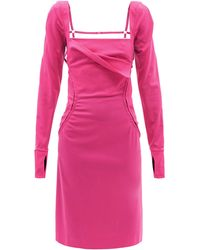 Jacquemus セロ ウールツイルドレス - ピンク