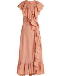Loup Charmant - Callela Ruffled Cotton Wrap Dress - Lyst