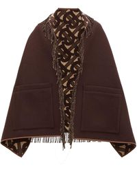 Burberry Helene Leather Trimmed Merino Wool Blend Scarf - Brown