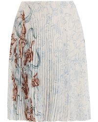 Prada - Pleated Rabbit-print Skirt - Lyst