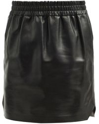 Bottega Veneta エラスティックウエスト レザースカート - ブラック
