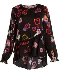 57bd38c38a7e6 Preen Line - Darcey Ruffle Trimmed Pansy Print Crepe Top - Lyst