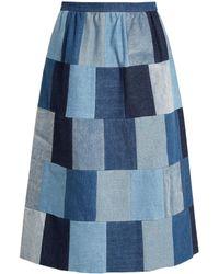 RED Valentino - Patchwork Denim Midi Skirt - Lyst