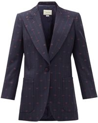 Gucci GG-jacquard Wool-blend Jacket - Blue