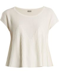 Rachel Comey Reverb Flared-hem Ribbed-knit Top - White