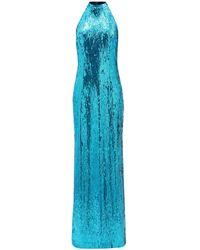 Galvan London オセアナ ホルターネック スパンコールドレス - ブルー