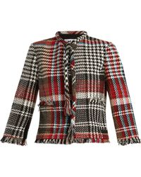 Oscar de la Renta - Fringed Cotton Blend Tweed Jacket - Lyst