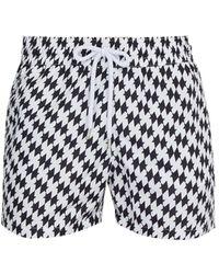 Frescobol Carioca Beijinhos Houndstooth-print Swim Shorts - Black
