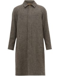 De Bonne Facture Single Breasted Houndstooth Wool Coat - Brown