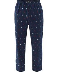 Polo Ralph Lauren Logo-print Cotton Pyjama Pants - Blue