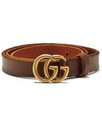 Gucci Gg Logo 2cm Leather Belt - Brown