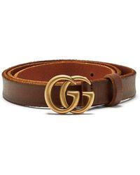 Gucci Gg-logo 2cm Leather Belt - Brown