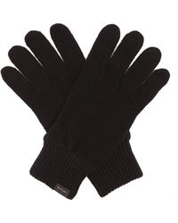 Paul Smith Logo-tab Cashmere-blend Gloves - Black
