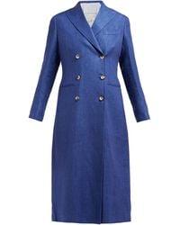 Giuliva Heritage Collection Manteau en lin à double boutonnage The Rose - Bleu