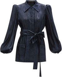 The Vampire's Wife The Penitent Wool-blend Lamé Blouse - Blue