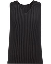 Homme Plissé Issey Miyake V-neck Technical-pleated Tank Top - Black