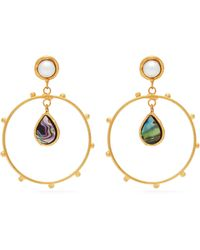 Sylvia Toledano - Abalon Hoop Drop Earrings - Lyst