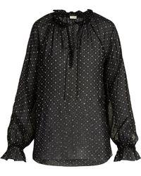Saint Laurent Heart Print Silk Georgette Blouse - Black