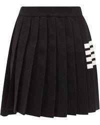 Thom Browne 4bar プリーツ ウールスカート - ブラック