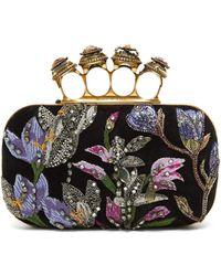 Alexander McQueen Knuckle Crystal-embellished Suede Clutch Bag - Black