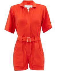 Giuliva Heritage Collection The Sienna Cotton-terry Playsuit - Red