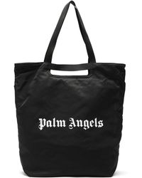Palm Angels Logo-print Shell Tote Bag - Black