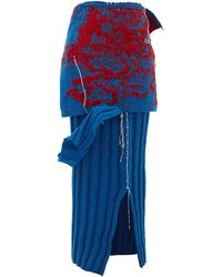 MATTY BOVAN - Draped Ribbed-knit Wool Skirt - Lyst