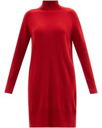 Allude High-neck Cashmere Mini Dress - Red