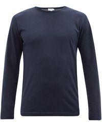 Sunspel Cotton-blend Jersey Long-sleeved Pyjama Top - Blue