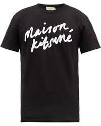 Maison Kitsuné - Logo-print Cotton T-shirt - Lyst