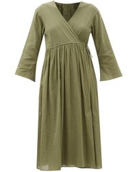 Loup Charmant Byblos Organic-cotton Voile Wrap Dress - Green