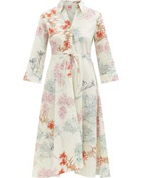 Le Sirenuse Lucy Spring Flowers-print Cotton Midi Shirt Dress - Multicolour
