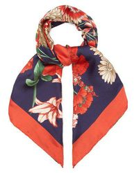 Gucci - Gg Belt And Floral-print Silk Scarf - Lyst