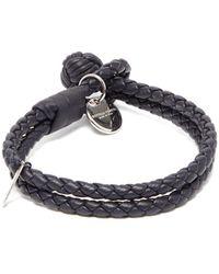 Bottega Veneta Double-wrap Leather Bracelet - Blue