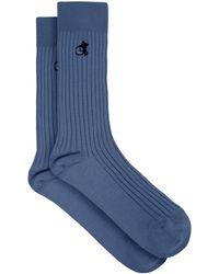 London Sock Company Logo-embroidered Cotton-blend Socks - Blue