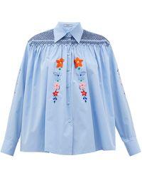 Prada Blouse en coton à smocks et broderies florales - Bleu