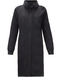 Pleats Please Issey Miyake Manteau plissé technique à empiècement amovible - Noir