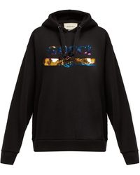 Gucci Sequinned-logo Hooded Cotton Sweatshirt - Black