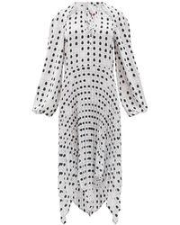 Thebe Magugu Tie-neck Fingerprint-print Crepe Midi Dress - Black