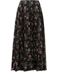 Valentino X Undercover Lip Floral-print Silk Midi Skirt - Black