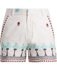 Le Sirenuse - Palm Border Print Cotton Shorts - Lyst