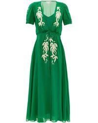 Saloni レア エンブロイダリー シルククレープドレス - グリーン