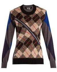 Junya Watanabe - Argyle-checked Wool-knit Sweater - Lyst