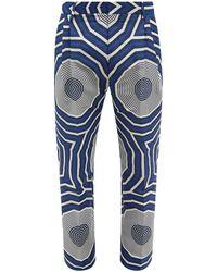 Charles Jeffrey LOVERBOY Martini Geometric-print Poplin Trousers - Blue
