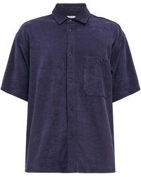 YMC スクリーチ オーガニックコットンテリーシャツ - ブルー